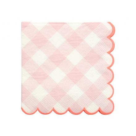 Pink Gingham Paper Napkins - Small
